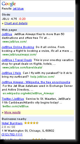 jet blue mobile serp