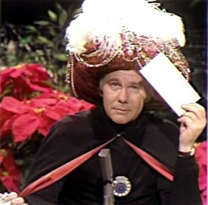 Johnny Carson as the Amazing Carnac